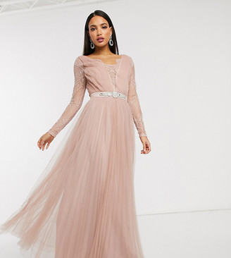 Asos Tall ASOS DESIGN Tall lace sleeve embellished waist trim detail tulle maxi dress in dusty pink