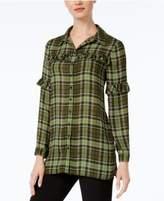 NY Collection Ruffled Plaid Shirt