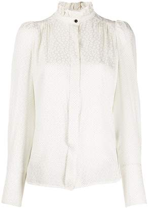 Isabel Marant micro-pattern frill neck blouse