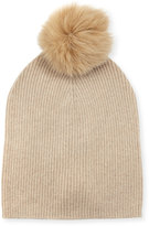Neiman Marcus Cashmere Slouchy Fox Fur Pompom Hat, Oatmeal