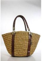 Michael Kors Cognac Leather Braided Handles Large Woven Straw Tote Handbag