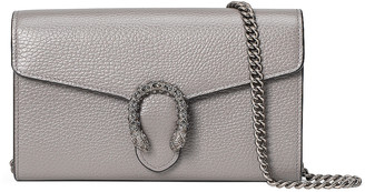 Gucci Leather Chain Shoulder Bag in Dusty Grey & Black Diamond | FWRD