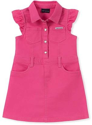 Calvin Klein Jeans Girls' Casual Dresses ASSORTED - Fuchsia Pocket Angel-Sleeve Shirt Dress - Toddler