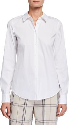 Lafayette 148 New York Montego Italian Stretch Cotton Button-Down Blouse