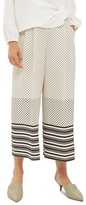 Topshop Women's Spot Stripe Crop Wide Leg Trousers
