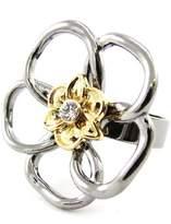 Les Trésors De Lily Ring designer 'Flora' golden .
