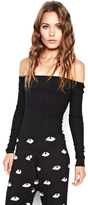 Michael Lauren Santorini Open Shoulder Top in Black