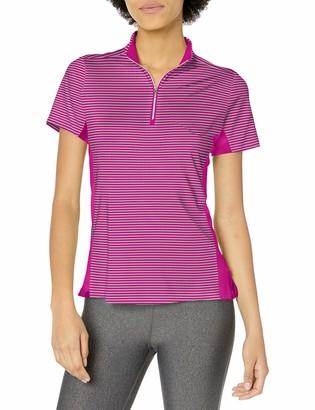 Cutter & Buck Women's Moisture Wicking UPF 50+ Short-Sleeve Striped Kelsey Zip Mock Shirt