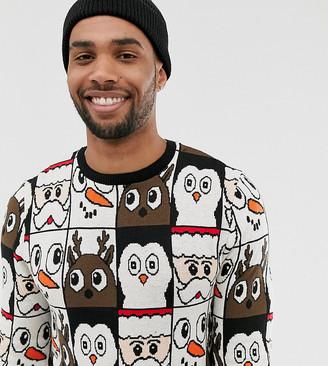 Asos Design DESIGN Tall christmas sweater in all over design-Black