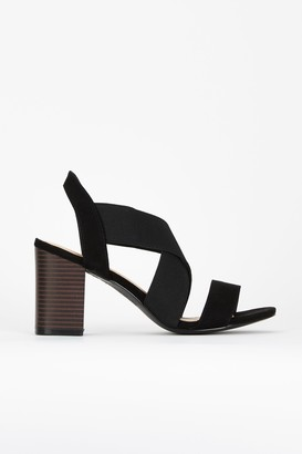 Wallis Black Elastic Cross Strap Sandal