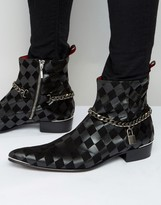 Jeffery West Adam Ant Leather Chain Zip Boot