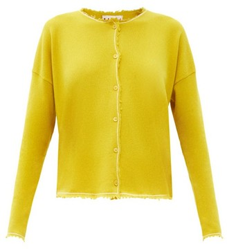 Marni Distressed-edge Cashmere Cardigan - Yellow