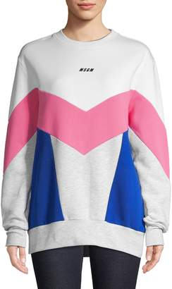MSGM Colourblock Long Sleeve Crew Neck Sweatshirt