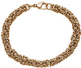 JCPenney FINE JEWELRY Mens Stainless Steel & Rose-Tone IP 8 7mm Byzantine Bracelet