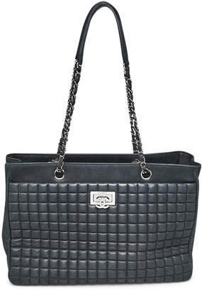 Chanel CC Lock Tote Quilted Square Iridescent Black
