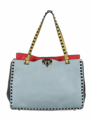 Valentino Leather Rockstud Rolling Tote Blue