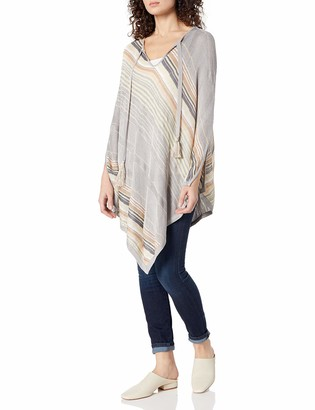 Minnie Rose Women's Rayon Multi Stripe Poncho Sweater