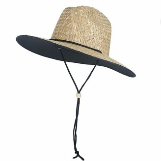 M.J.Z Hats 2019 New Straw Hat Sun Hats Girls Large Brim Boater Beach Ribbon Round Flat Top Beach Lifeguard Summer Hat M.J.ZUR (Color : Natural Size : 56-58cm)