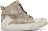 Boris Bidjan Saberi Beige Distressed High-Top Sneakers