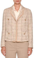 Agnona Tweed Four-Pocket Jacket, Taupe