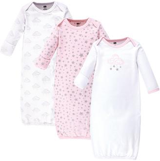 Hudson Baby Girls' Infant Gowns Cloud - Purple & Pink Cloud & Stars Three-Piece Gown Set - Newborn