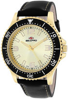 Seapro Tideway Mens Gold-Tone Dial Black Leather Strap Watch