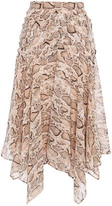 Walter Baker Asymmetric Pleated Snake-print Crepe De Chine Midi Skirt