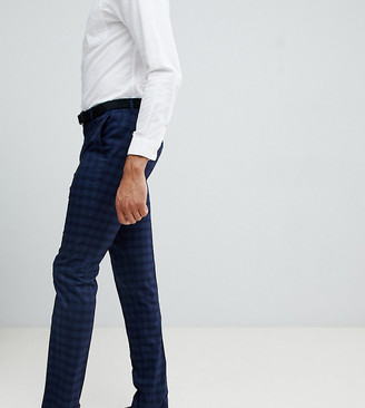 Farah Smart Hurstleigh skinny check trousers in navy Exclusive at ASOS-Blue