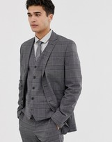 Jack and Jones slim double breasted wedding suit jacket in check