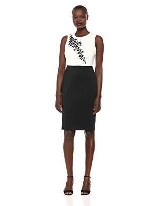 Calvin Klein Women's Sleeveless Embellished Color Block Sheath Dress