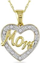 """10K Yellow Gold and Diamond Heart-Shaped """"Mom"""" Pendant with Chain"""