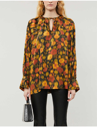 Topshop Psyco psychedelic-print satin-twill shirt