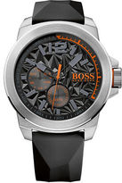 HUGO BOSS New York Stainless Steel Black Silicone Strap Watch, 1513346