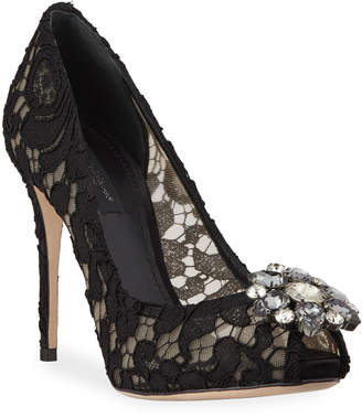 Dolce & Gabbana Jeweled Lace Peep-Toe Pumps