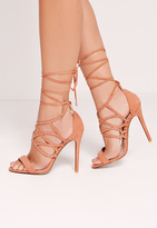Missguided Curved Strap Wrap Around Heeled Sandals Blush Pink