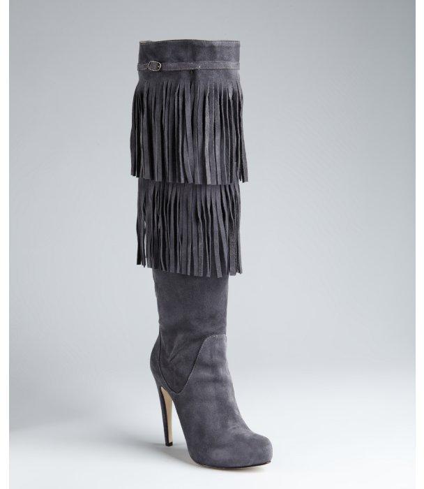 Charles David dark chocolate suede fringe tall boots