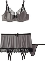 Fantasy Lingerie Women's Plus-Size Eyelash Lace Trim Bra Set with Matching Gartered Skirt and G-String