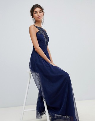 Little Mistress beaded embroidery neckline and gathered waist maxi dress