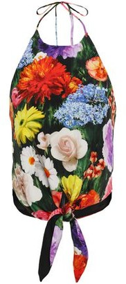 Alice + Olivia Laura Floral-print Silk Crepe De Chine Halterneck Top