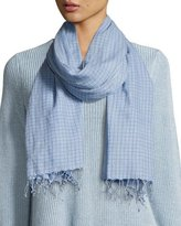 Eileen Fisher Hand-Loomed Organic Cotton Checkerboard Scarf, Morning Glory