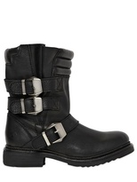 30mm Buckled Smooth Leather Biker Boots