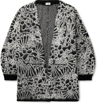 Saint Laurent Wool-Blend Jacquard Cardigan