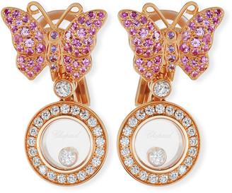 Chopard 18k Happy Diamonds Butterfly Double-Drop Earrings