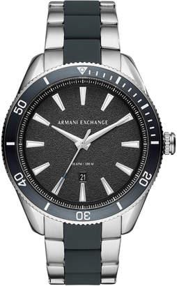 Armani Exchange Men Enzo Stainless Steel & Blue Silicone Bracelet Watch 46mm