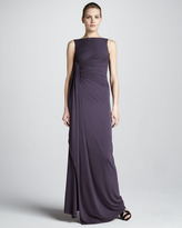 Michael Kors Gathered Boat-Neck Gown