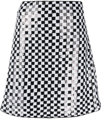 Emporio Armani Check Sequin-Embellished Skirt