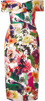 Cushnie et Ochs Alba Off-the-shoulder Floral-print Stretch-cady Dress - Orange