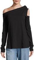 Robert Rodriguez One-Shoulder Draped-Neck T-Shirt, Black
