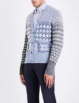 Thom Browne Fun Mix Fair Isle wool and mohair-blend cardigan
