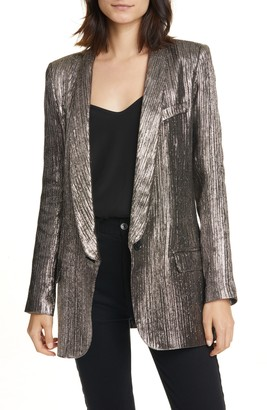 Smythe Long Shawl Collar Metallic Blazer